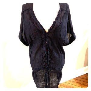 Crepe material short sleeve drawstring waist dress